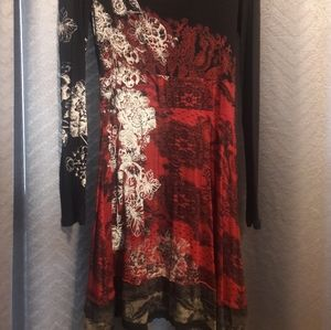 Desigual Black & Red Lace Pattern Knit Dress-Sz L